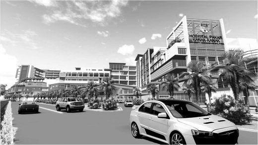 현대엠코가 수주한 말레이시아 아동 전문병원 조감도.